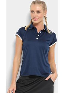 Camisa Polo Adidas Club 3 Stripes Feminina - Feminino-Marinho