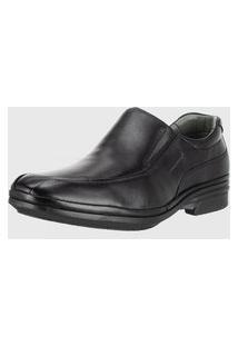 Sapato Social Sapatoterapia Anatomico Confortável Leve Preto Couro 30720 Sapato Terapia Solado Massageador