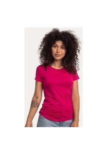 Camiseta Decote Redondo Em Modal Rosa Pink