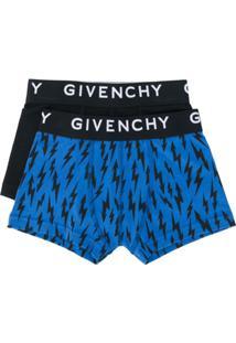 Givenchy Kids Conjunto De Cueca Boxer Com Logo - Preto