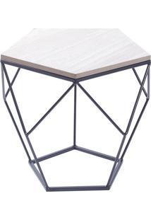 Mesa Lateral Geomã©Trica- Preta & Bege Claro- 36,5X40Or Design