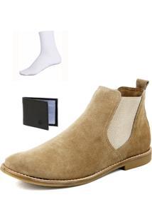 Bota Chelsea Boots Confortável Escrete Couro 502 Areia + Brinde