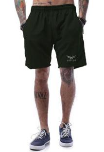 Bermuda Tactel Cellos Stripe Premium Masculina - Masculino-Verde Militar