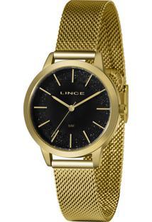 Relógio Analógico Feminino Lince Lrg4678L P1Kx Preto E Dourado