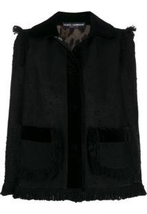 Dolce & Gabbana Fringed Tweed Jacket - Preto