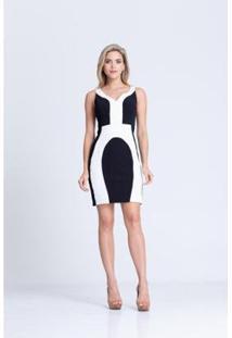 Vestido Clara Aruda Recortes Bicolor Feminino - Feminino-Off White