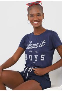 Camiseta Cropped Aeropostale Blame It Azul-Marinho - Kanui