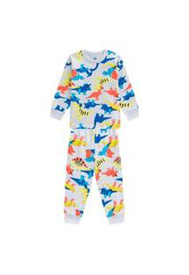 Pijama Brandili Dinossauros Malha Longo Infantil Masculino