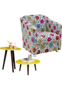 Poltrona Decorativa Para Sala Laura Linho Floral Com Mesa De Centro E Lateral Amarelo Brilho - Lyam Decor