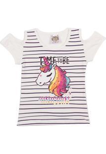 Camiseta Clubinho Kids Unicórnio Off-White