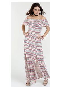 3dcbc2658 Vestido Feminino Ombro A Ombro Listrado Manga Curta Marisa