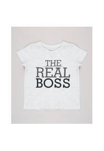 "Camiseta Infantil Tal Pai Tal Filho The Real Boss"" Manga Curta Cinza Mescla Claro"""