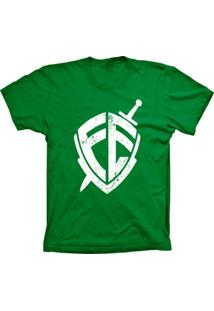 Camiseta Baby Look Lu Geek Escudo Da Fé Verde