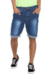 Bermuda Jeans Efeito Bigode Grupo Avenida Masculina - Masculino-Azul