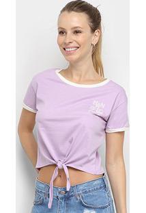 Camiseta Cropped Hang Loose Lines Amarração Feminina - Feminino