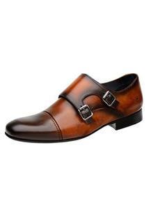 Sapato Monk Masculino Malbork Em Couro Caramelo 60434 Caramelo