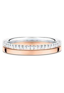 Aliança De Casamento Ouro Rosé Ouro Branco E Diamantes (3,6 Mm)