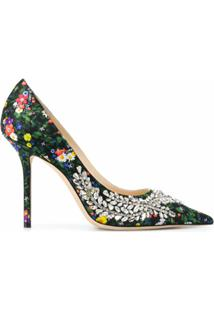 Jimmy Choo Sapato Love Com Estampa Floral E Salto 100Mm - Verde