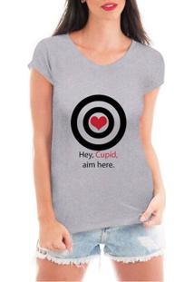 Camiseta Criativa Urbana Cupido Solteira - Feminino-Cinza