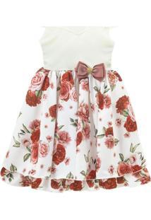 Vestido Infantil De Festa Libelinha Com Estampa Floral – Bordô