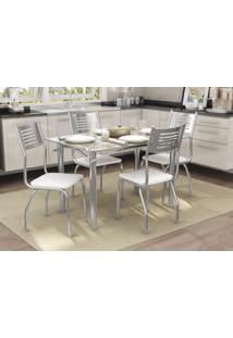 Conjunto Mesa Elba Com 4 Cadeiras Munique Branco E Cromado Kappesberg Crome - Branco - Dafiti