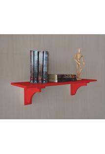 Prateleira Decorativa Suporte Para Livros Com Cantoneira Mão Francesa Vermelho Laca