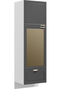Paneleiro Suspenso Com 2 Portas Vidro Reflecta E 1 Gaveta Nevada 5630Svd-Multimóveis - Branco Premium / Grafite Premium