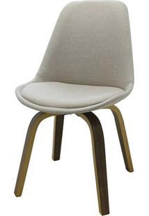 Cadeira Lis Eames Revestida Tecido Bege Base Madeira Mescla - 51148 - Sun House