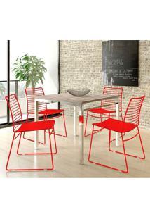 Conjunto Mesa 1525 Nogueira Cromada Com 4 Cadeiras 1712 Vermelha Carraro