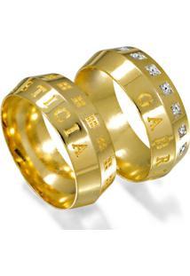 Aliança De Ouro Casamento Misto Com Diamantes - As0907 + As0908