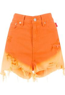 Denimist Gradient Effect Denim Shorts - Laranja