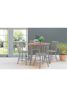 Conjunto De Mesa De Jantar Redonda Com 4 Cadeiras Mimo 90Cm Verniz Jatobá E Laca Cinza Concreto