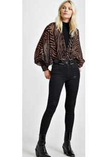 Calca Jeans Basic Skinny Midi Black Com Foil Jeans - 36