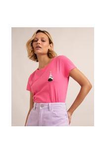 """Camiseta De Algodão """"Descansar Também É Produtivo"""" Manga Curta Decote Redondo Pink"""