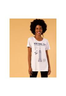 T-Shirt Alongada Estampa New York Unica P Branco