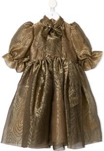 Dolce & Gabbana Kids Vestido Com Laço Na Gola - Dourado