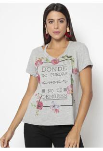 Camiseta Floral Com Inscrições- Cinza & Preta- Ênfasênfase Plus
