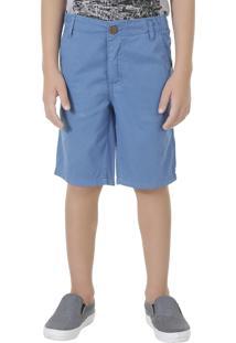 Bermuda Color Infantil Reta Em Algodão + Sustentável Azul Jeans