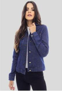 Jaqueta Jeans Sob Básica Com Elastano Feminina - Feminino-Azul Escuro