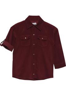 Camisa Look Jeans Veludo - Vinho - Menino - Dafiti