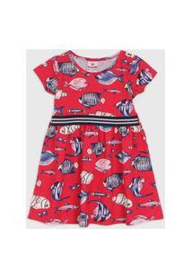 Vestido Brandili Infantil Peixes Vermelho