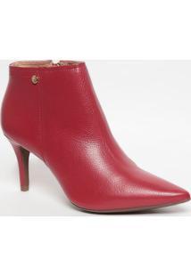 Ankle Boot Em Couro Com Aviamento- Vermelha- Salto: Jorge Bischoff