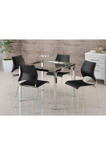 Conjunto De Mesa Com 4 Cadeiras Monalisa Preto