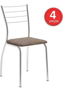 Cadeira 1700 Cromada 04 Unidades Tecido/Camurça Conhaque Carraro