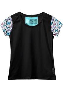 Camiseta Baby Look Feminina Algodão Estampa Animal Estilo - Feminino-Preto
