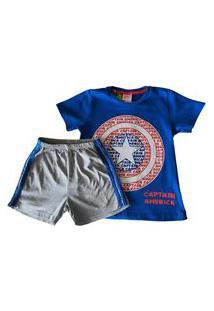 Pijama Infanto-Juvenil Evanilda Camiseta Manga Curta E Shorts Avengers Capitáo América