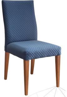 Cadeira Estofada 217 Madeira Maciça 4 Peças Amendoa-Azul