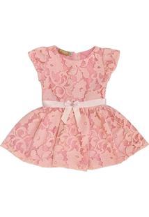 Vestido De Renda Forrado Douvelin Rosa