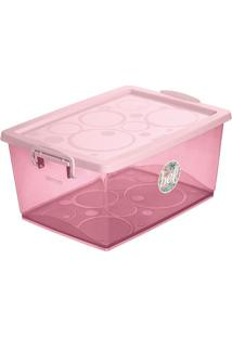 Caixa Organizadora Com Trava- Rosa Claro- 30L- Oordene