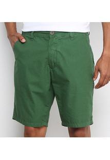 Bermuda Sarja Osklen Casual Alfaiataria Masculina - Masculino-Verde Escuro